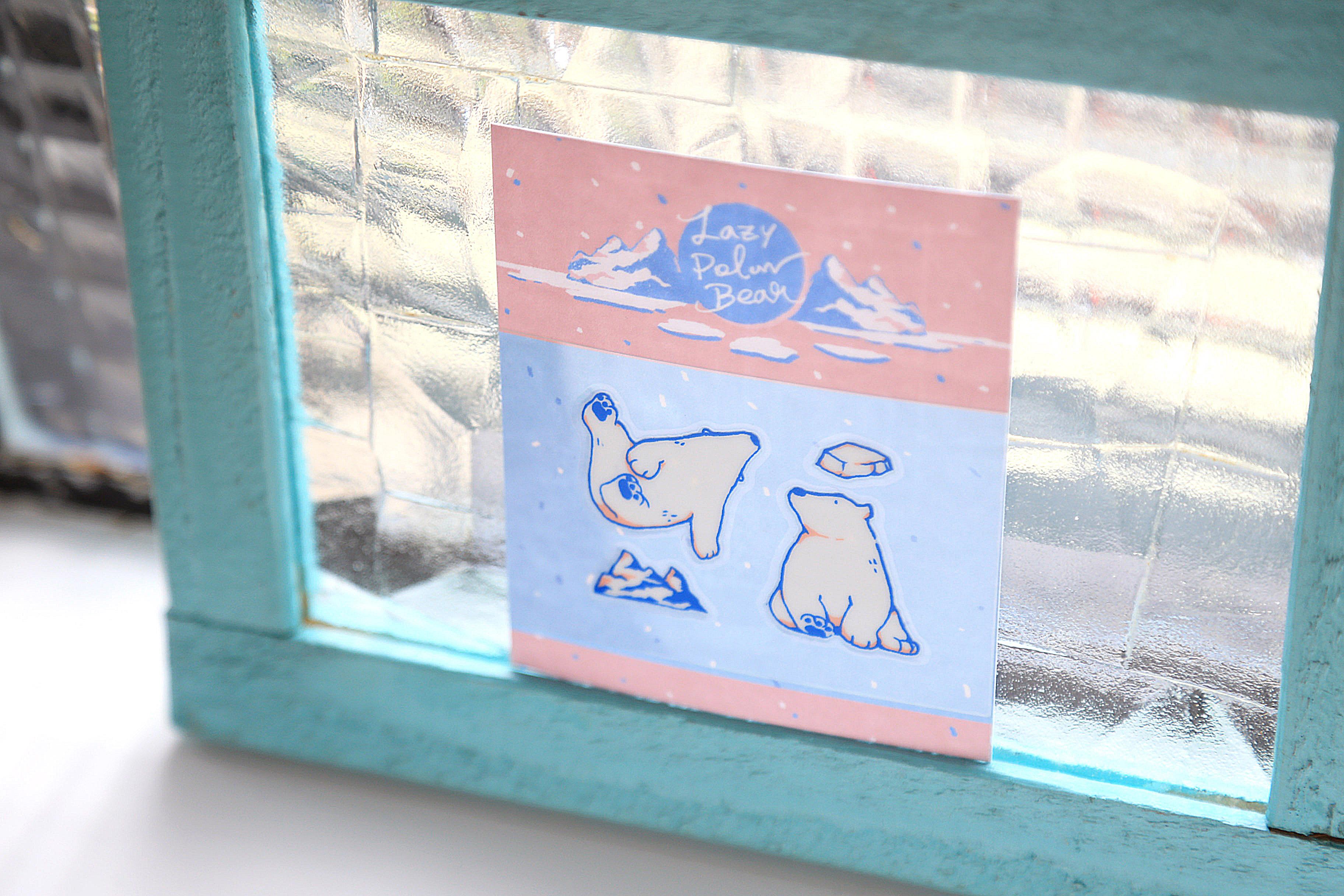 轉印裝飾貼紙 - Lazy Polar Bears #1