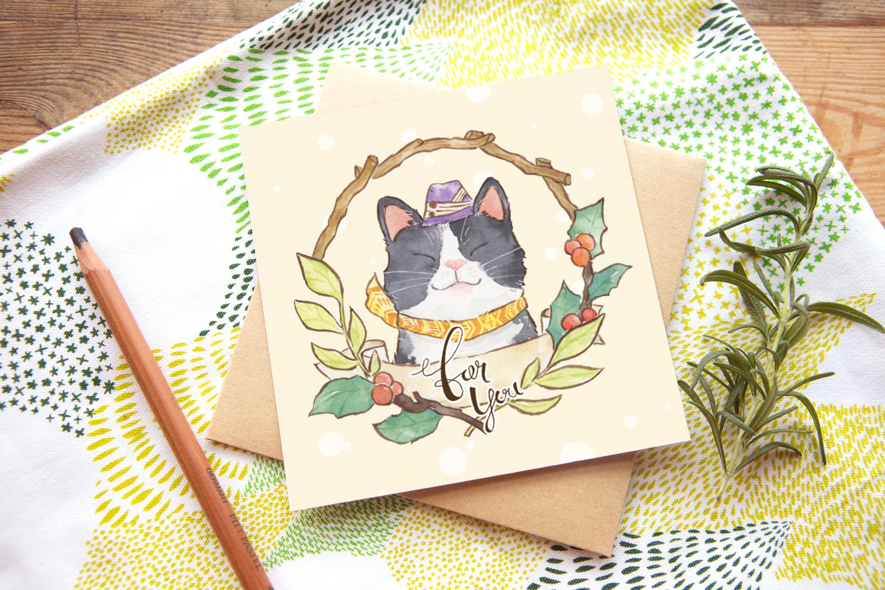 冬日問候卡片 - 黑白貓